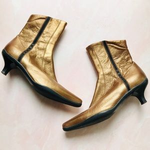 Prada Gold Metallic Leather Ankle Boots Sz 7.5